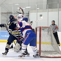 TORONTO, ON - Mar 31 : Ontario Junior Hockey League, Toronto Patriots v Toronto Jr. Canadiens, SouthWest Championship Series, Game 3. =Nathaniel Colitto #29 of the Toronto Jr. Canadiens Hockey Club jumps up to catch the puck during the first period.<br /> (photo by Jay Johnston / OJHL Images)