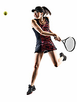 one young tennis player asian woman isolated in studio silhouette on white brackground