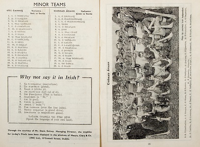 All Ireland Senior Hurling Championship Final,.Brochures,.04.09.1949, 09.04.1949, 4th September 1949, .Tipperary 3-11, Laois 0-3, .Minor Kilkenny v Tipperary, .Senior Tipperary v Laois, .Croke Park, ..Kilkenny Minor Team, S O Murcada, P O hArgain, D O Meacair, S Mac Samrain, T O Concubair, M O Seactnuite, S O Doibin, N O Riain, P Mac Gearailt, T O Dublaing, R O Neill, M O Cuggai, R O Matuna, T O Baltun, S O Seagda, S O Meacair, M O Cladra, R O Docataig, R O Matuna, S O Ceallaig, ..Tipperary Minor Team, S O Gradaig, S O Maoldomnaig, L S O Maoldomnaig, S Brun, .D O Meacair, S Finn, S S Mac Crait, R O h-Oileain, S O Meacair, D O Dubgaill, L O Catain, T O h-Eactigeirn, M O Buacalla, L O Peircin, D O Briain, M O Riain, M A Mac Domnaill, M O Riain, S De Burca, S O Riain,..Articles, Why not say it in Irish?,
