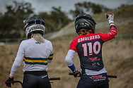 #68 (BUCHANAN Caroline) AUS and #110 (SMULDERS Laura) NED at Round 3 of the 2020 UCI BMX Supercross World Cup in Bathurst, Australia.