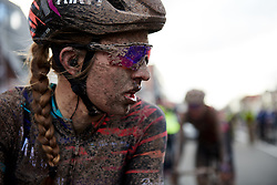 Alexis Ryan (USA) has a post race facial at Ronde van Drenthe 2019, a 165.7 km road race from Zuidwolde to Hoogeveen, Netherlands on March 17, 2019. Photo by Sean Robinson/velofocus.com