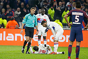 Nabil Fekir of Lyon and Houssem Aouar of Lyon and Referer Clément Turpin during the French Championship Ligue 1 football match between Olympique Lyonnais and Paris Saint-Germain on January 21, 2018 at Groupama stadium in Decines-Charpieu near Lyon, France - Photo Romain Biard / Isports / ProSportsImages / DPPI
