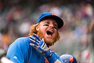 Justin Turner #2 of the New York Mets plays around in the dugout before a game against the Minnesota Twins on April 13, 2013 at Target Field in Minneapolis, Minnesota.  The Mets defeated the Twins 4 to 2.  Photo: Ben Krause