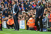 Queens Park Rangers manager Jimmy Floyd Hasselbaink gets involved during the EFL Sky Bet Championship match between Fulham and Queens Park Rangers at Craven Cottage, London, England on 1 October 2016. Photo by Jon Bromley.