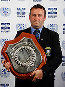 Ponsonby coach Simon Scott with the Gallaher Shield, Auckland rugby union awards dinner, Eden Park, Auckland. 28 October 2009. Photo: William Booth/PHOTOSPORT
