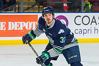KELOWNA, BC - JANUARY 30: Graeme Bryks #37 of the Seattle Thunderbirds skates against the Kelowna Rockets at Prospera Place on January 30, 2019 in Kelowna, Canada. (Photo by Marissa Baecker/Getty Images)