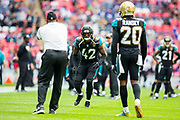 Church, Barry of the Jacksonville Jaguars warms up during the International Series match between Baltimore Ravens and Jacksonville Jaguars at Wembley Stadium, London, England on 24 September 2017. Photo by Jason Brown.