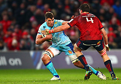 Sam Skinner of Exeter Chiefs in action against Jean Kleyn of Munster Rugby - Mandatory by-line: Ken Sutton/JMP - 19/01/2019 - RUGBY - Thomond Park - Limerick,  - Munster Rugby v Exeter Chiefs -