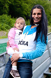 Family of Primoz Peterka wife Renata Bohinc Peterka and daughter Stella after Ski Jumping Summer Continental Cup in Kranj and last jump of Primoz Peterka's career, one of the best ski jumpers in history, on July 2, 2011, in Kranj, Slovenia. (Photo by Vid Ponikvar / Sportida)