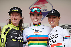 Top three on the stage, Anna van der Breggen (NED), Annemiek van Vleuten (NED) and Ashleigh Moolman Pasio (RSA) on Stage 9 of 2019 Giro Rosa Iccrea, a 125.5 km road race from Gemona to Chiusaforte, Italy on July 13, 2019. Photo by Sean Robinson/velofocus.com