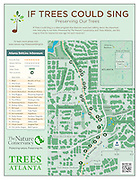 "Vector map of the Eastside Trail of Atlanta Georgia's scenic beltway urban trail system. The map is part of the ""If Trees Could Sing"" program sponsored by The Nature Conservancy and Trees Atlanta. ""If Trees Could Sing"" is a video program in which music artists talk about various trees and their important role in our lives. Use this map to find the interactive tree signs for each music artist."