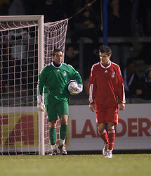 BRISTOL, ENGLAND - Thursday, January 15, 2009: Liverpool's goalkeeper Dean Bouzanis and Alex Kacaniklic look dejected after conceding an equaliser against Bristol Rovers during the FA Youth Cup match at the Memorial Stadium. (Mandatory credit: David Rawcliffe/Propaganda)