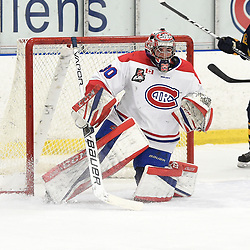 TORONTO, ON  - JAN 7,  2018: Ontario Junior Hockey League game between the Toronto Jr. Canadiens and the Buffalo Jr. Sabres, Christian Mattiace #30 of the Toronto Jr. Canadiens protects the crease during the first period.<br /> (Photo by Andy Corneau / OJHL Images)