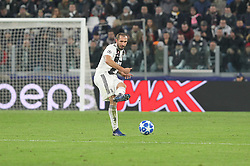 November 27, 2018 - Turin, Piedmont, Italy - Giorgio Chiellini (Juventus FC) during the UEFA Champions League match between Juventus FC and Valencia CF, at Allianz Stadium on November 27, 2018 in Turin, Italy. .Juventus won 1-0 over Valencia. (Credit Image: © Massimiliano Ferraro/NurPhoto via ZUMA Press)