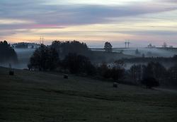 CZECH REPUBLIC VYSOCINA NEDVEZI 26OCT13 - Morning mist in the valleys near the village of Nedvezi, Vysocina, Czech Republic.<br /> <br /> jre/Photo by Jiri Rezac<br /> <br /> © Jiri Rezac 2013