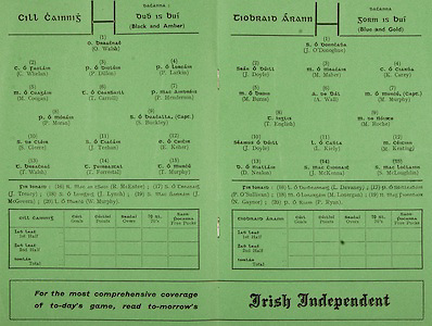 All Ireland Senior Hurling Championship Final,.06.09.1964, 09.06.1964, 6th September 1964,.Minor Cork v Laois, .Senior Kilkenny v Tipperary, Tipperary 5-13 Kilkenny 2-08,...Irish Independent, ..Kilkenny,.O Walsh, C Whelan, P Dillon, P Larkin, M Coogan, T Carroll, P Henderson, P Moran, S Buckley, S Cleere, J Teehan, E Keher, T Walsh, T Forrestal, T Murphy, 16 R McEntee, J Treacy, J Lynch, J McGovern, W Murphy, ..Tipperary,.J O'Donoghue, J Doyle, M Maher, K Carey, M Burns, A Wall, M Murphy (Capt), T English, M Roche, J Doyle, L Kiely, M Keating, D Nealon, J McKenna, S McLoughlin, L Devaney, P O'Sullivan, M Lonergan, N Gaynor, P Ryan,