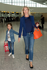 JUL 11 2014 Tamara Beckwith with daughter Violet depart Heathrow