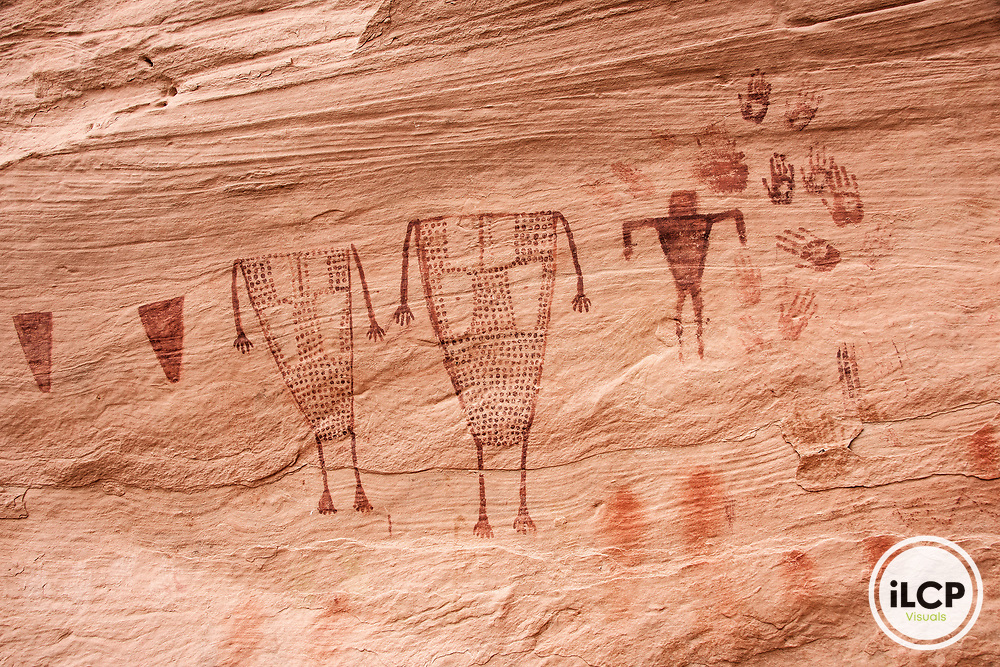 The pictograph wall in Sheik's Canyon is a spectacular scene that tells its story spanning a canyon alcove. This vignette captures headless figures and handprints of the Ancient Ones. Cedar Mesa holds the history of the Ancient Puebloan People in canyon ruins, petroglyphs and pictographs, and in 12,000 years of occupation left behind. Thousands of these Native American sites remain undiscovered and in need of protection. On December 4, 2017, Bears Ears National Monument was reduced by an unprecedented 85%; Grand Staircase-Escalante National Monument by 50%.  iLCP rapid photography expedition to Bears Ears National Monument, Utah - December, 2017Grand Gulch in Bears Ears National Monument, Utah