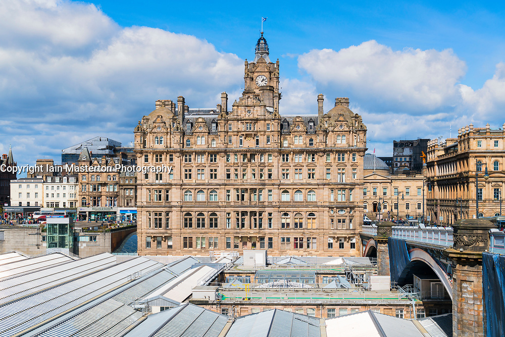 View of Balmoral Hotel on Princes Street in Edinburgh, Scotland