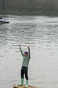 Greater London. United Kingdom, One Happy Cambridge supporter. Men's  University Boat Race , Cambridge University vs Oxford University Putney to Mortlake,  Championship Course, River Thames, London. <br /> <br /> Saturday  24.03.18<br /> <br /> [Mandatory Credit:Peter SPURRIER/Intersport Images]