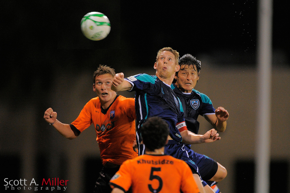 VSI Tampa Bay FC defender Kyle Hoffer (6) goes airborne for a ball during a USL-Pro soccer game against the Dayton Dutch Lions at the Plant City Stadium in Plant City, Florida April 26, 2013. Dayton won 1-0....©2013 Scott A. Miller