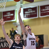 Men's Basketball: University of Chicago Maroons vs. Emory University Eagles. Chicago win in overtime 96-86 in UAA conference play.<br /> (Credit: Dean Reid, d3photography.com )