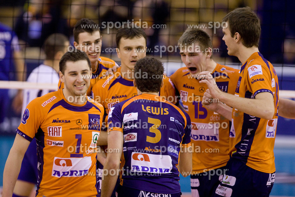 Andrej Flajs (1) of ACH, Alen Pajenk (2) of ACH, Veljko Petkovic (10) of ACH, Daniel Lewis (3) of ACH, Vid Jakopin (15) of ACH and Oliver Venno (8) of ACH celebrate at volleyball match of CEV Indesit Champions League Men 2009/2010 between ACH Volley Bled (SLO) and Istanbul Buyuksehir BLD (TUR), on December 9, 2009 in Arena Tivoli, Ljubljana, Slovenia. (Photo by Vid Ponikvar / Sportida)