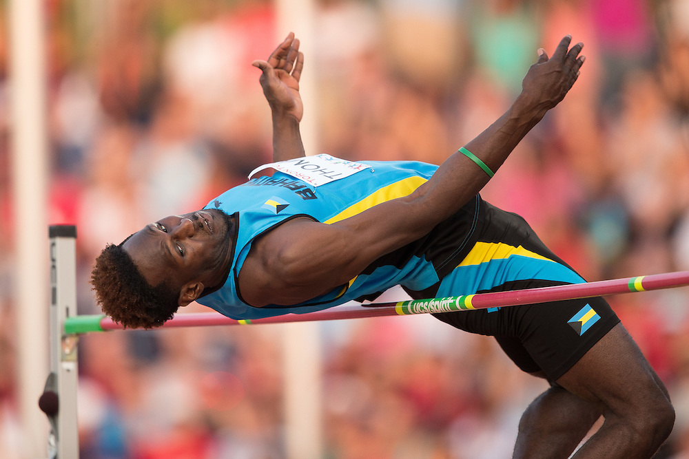 Donald Thomas of the Bahamas competes in the high jump at the 2015 Pan American Games at CIBC Athletics Stadium in Toronto, Canada, July 25,  2015.  AFP PHOTO/GEOFF ROBINS