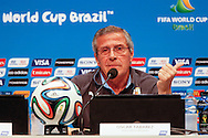 Uruguay manager Oscar Tabarez during the Uruguay press conference at Maracana Stadium, Rio de Janeiro, Brazil, ahead of their last 16 FIFA World Cup 2014 match against Colombia<br /> Picture by Andrew Tobin/Focus Images Ltd +44 7710 761829<br /> 27/06/2014