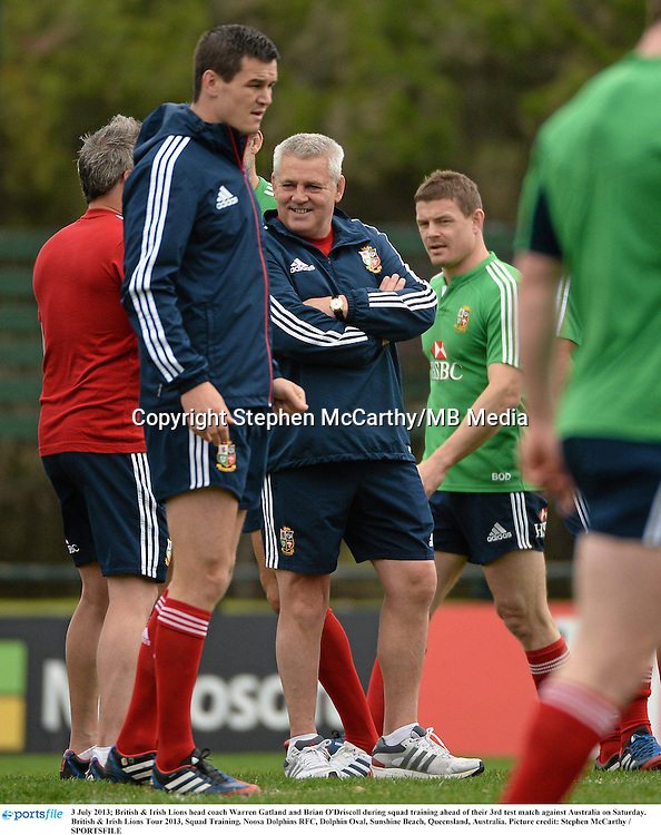 3 July 2013; British & Irish Lions head coach Warren Gatland and Brian O'Driscoll during squad training ahead of their 3rd test match against Australia on Saturday. British & Irish Lions Tour 2013, Squad Training. Noosa Dolphins RFC, Dolphin Oval, Sunshine Beach, Queensland, Australia. Picture credit: Stephen McCarthy / SPORTSFILE