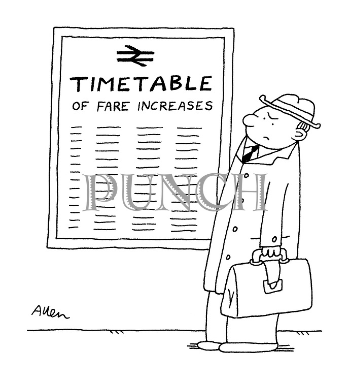 (Commuter reading a British Rail timetable of fare increases)