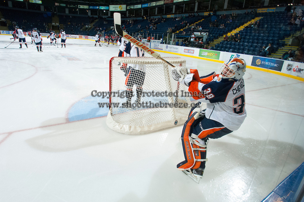 KELOWNA, CANADA - NOVEMBER 1:  Cole Cheveldave #38 of the Kamloops Blazers warms up on the ice as the Kamloops Blazers visit the Kelowna Rockets on November 1, 2012 at Prospera Place in Kelowna, British Columbia, Canada (Photo by Marissa Baecker/Shoot the Breeze) *** Local Caption ***