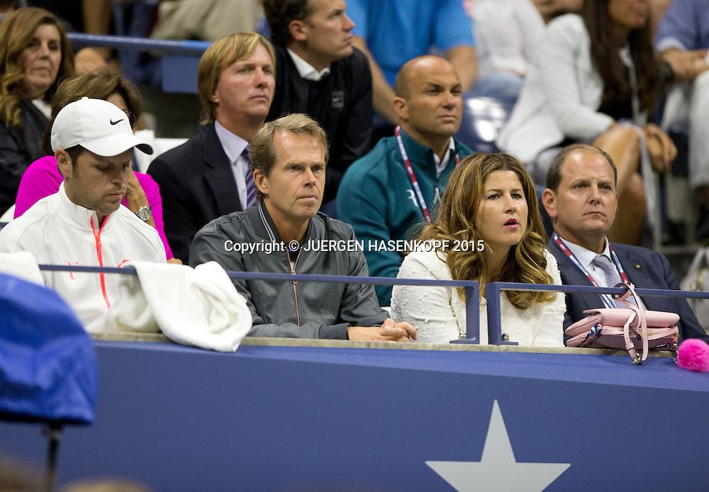Team Roger Federer Severin, L-R Severin Luethi,Stefan Edberg,Ehefrau Mirka und Manager Tony Godsick,<br /> <br /> Tennis - US Open 2015 - Grand Slam ITF / ATP / WTA -  Flushing Meadows - New York - New York - USA  - 13 September 2015.