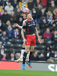 Reading Pavel Pogrebnyak battles with Derby Richard Keogh, Derby County v Reading, FA Cup 5th Round, The Ipro Stadium, Saturday 14th Febuary 2015