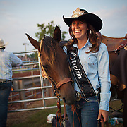 "Melissa McMullan, Miss Rodeo Virginia 2014, of Ft. Valley, VA, stands with her horse, Sarah, during the Dave Martin Rodeo, at the Prince William County Fair, in Manassas, VA, on Sunday, August 10, 2014.  McMullan represents Virginia regionally and nationally, while promoting ""rodeos and the western lifestyle"" in Virginia.  John Boal Photography Melissa McMullan, Miss Rodeo Virginia 2014, of Ft. Valley, VA, stands with her horse, Sarah, during the Dave Martin Rodeo, at the Prince William County Fair, in Manassas, VA, on Sunday, August 10, 2014.  McMullan represents Virginia regionally and nationally, while promoting ""rodeos and the western lifestyle"" in Virginia."