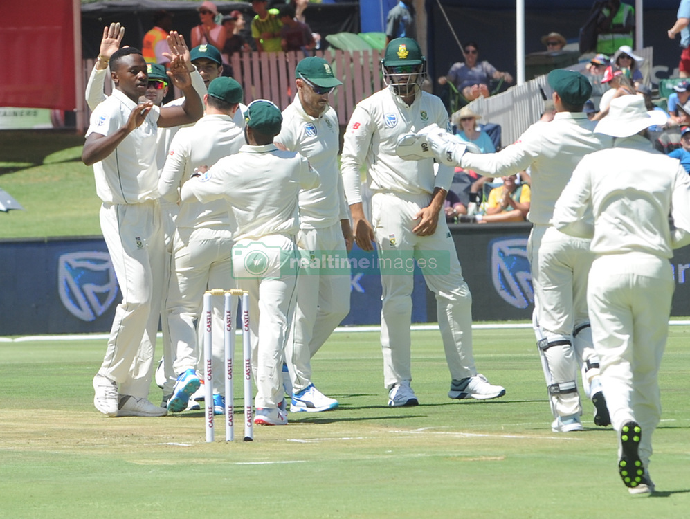 Pretoria 26-12-18. The 1st of three 5 day cricket Tests, South Africa vs Pakistan at SuperSport Park, Centurion. Day 1. South African Proetas team congratulate Kagiso Rabada after taking the Pakistan wicket of Imam-ul-Haq in the morning session.<br /> Picture: Karen Sandison/African News Agency(ANA)