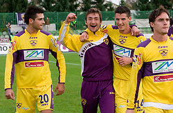 Miral Samardzic, Armin Bacinovic, Vito Plut and Ales Mejac of Maribor celebrate at 13th Round of Prva Liga football match between NK Olimpija and Maribor, on October 17, 2009, in ZAK Stadium, Ljubljana. Maribor won 1:0. (Photo by Vid Ponikvar / Sportida)