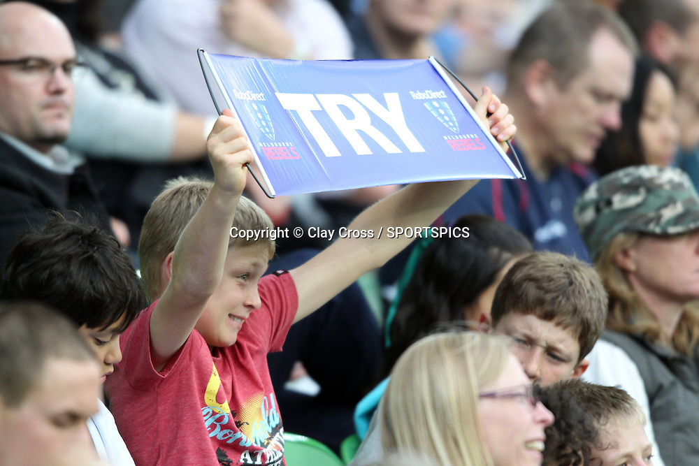 A young Rebels fan during the Super Rugby pre season, Rebels v Blues, AAMI Park, Melbourne. Saturday 11 February 2012. Photo: Clay Cross/photosport.co.nz