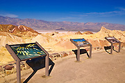 Interpretive signs at Zabriskie Point, Death Valley National Park. California