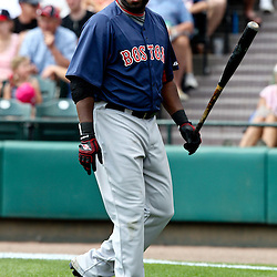 March 16, 2011; Lake Buena Vista, FL, USA; Boston Red Sox first baseman David Ortiz (34) reacts after striking out during a spring training exhibition game against the Atlanta Braves at the Disney Wide World of Sports complex.  Mandatory Credit: Derick E. Hingle
