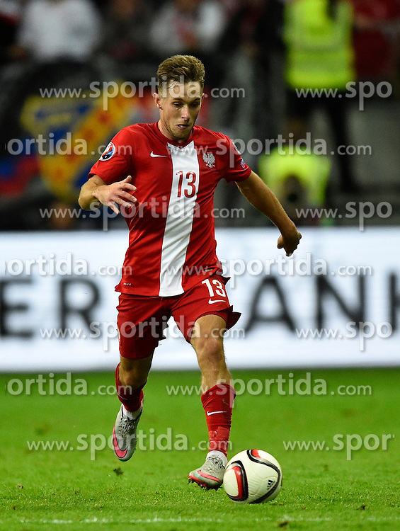 04.09.2015, Commerzbank Arena, Frankfurt, GER, UEFA Euro Qualifikation, Deutschland vs Polen, Gruppe D, im Bild Maciej Rybus (POL) am Ball // during the UEFA EURO 2016 qualifier Group D match between Germany and Poland at the Commerzbank Arena in Frankfurt, Germany on 2015/09/04. EXPA Pictures &copy; 2015, PhotoCredit: EXPA/ Eibner-Pressefoto/ Weber<br /> <br /> *****ATTENTION - OUT of GER*****