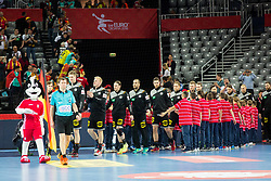 German players during during handball match between National teams of Germany and Macedonia on Day 5 in Preliminary Round of Men's EHF EURO 2018, on January 17, 2018 in Arena Zagreb, Zagreb, Croatia. Photo by Ziga Zupan / Sportida