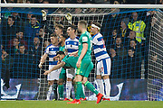 Queens Park Rangers forward Matt Smith (17) pushing Watford forward Troy Deeney (9) in the goal area during The FA Cup 5th round match between Queens Park Rangers and Watford at the Loftus Road Stadium, London, England on 15 February 2019.