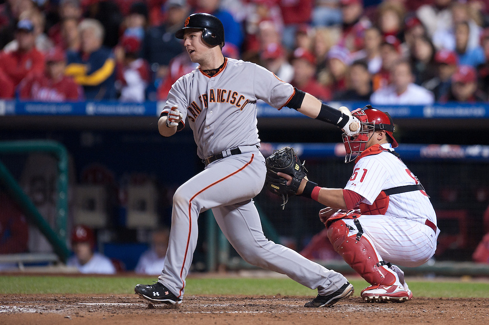 PHILADELPHIA - OCTOBER 16: Buster Posey #26 of the San Francisco Giants bats against the Philadelphia Phillies in Game One of the NLCS during the 2010 MLB Playoffs at Citizens Bank Park on October 16, 2010 in Philadelphia, Pennsylvania. (Photo by: Rob Tringali) *** Local Caption *** Buster Posey