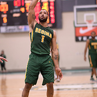 4th year forward Shawn Lathan (1) of the Regina Cougars during the Men's Basketball home game on January 6 at Centre for Kinesiology, Health and Sport. Credit: Arthur Ward/Arthur Images