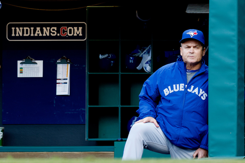 May 1, 2015; Cleveland, OH, USA; Toronto Blue Jays manager John Gibbons (5) watches from the dugout during the first inning against the Cleveland Indians at Progressive Field. Mandatory Credit: Rick Osentoski-USA TODAY Sports