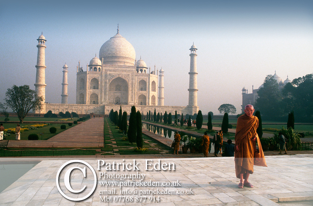 Buddhist Monk, The Taj Mahal, Sunrise,Gardens, Agra, India, photograph photography