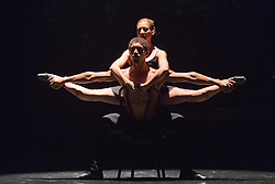 """© Licensed to London News Pictures. 08/10/2014. London, England. Duet performed by Heidy Batista Garcia and Jesus Elias Almenares. Cuban dance troupe """"Ballet Revolución"""" returns to the Peacock Theatre from 7 to 25 October 2014. Photo credit: Bettina Strenske/LNP"""