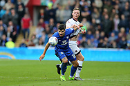 Callum Paterson of Cardiff city holds off a challenge from Aiden O'Brien of Millwall &reg;. EFL Skybet championship match, Cardiff city v Millwall at the Cardiff city stadium in Cardiff, South Wales on Saturday 28th October 2017.<br /> pic by Andrew Orchard, Andrew Orchard sports photography.