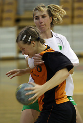 Vanesa Miler of Brezice and Vesna Pus of Olimpija at  handball game between women team RK Olimpija vs ZRK Brezice at 1st round of National Championship, on September 13, 2008, in Arena Tivoli, Ljubljana, Slovenija. Olimpija won 41:17. (Photo by Vid Ponikvar / Sportal Images)